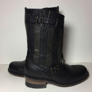 Frye 75154 Engineer Americana Black Boots Size 7